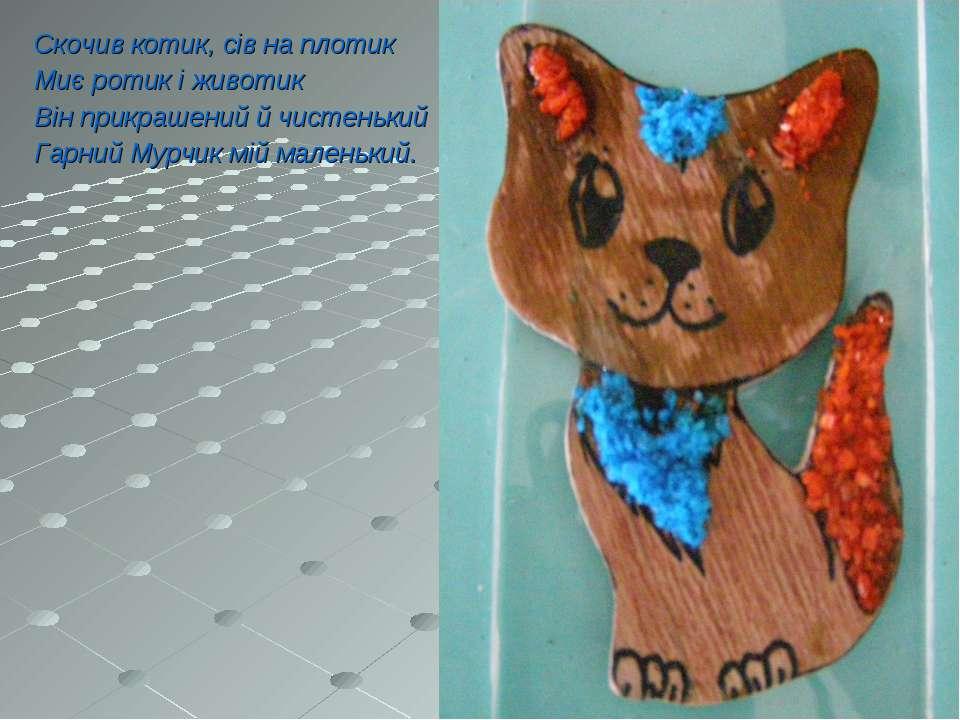Скочив котик, сів на плотик Миє ротик і животик Він прикрашений й чистенький ...