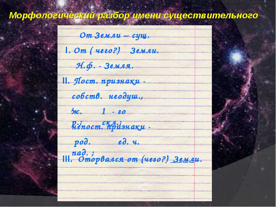 Морфологический разбор имени существительного От Земли – сущ. I. От ( чего?) ...