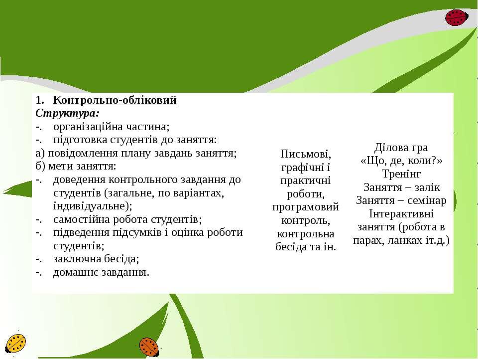 Контрольно-обліковий Структура: організаційна частина; підготовка студентів д...