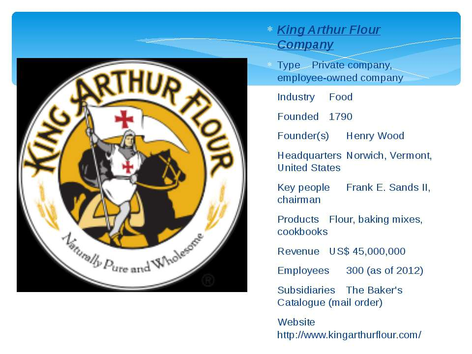 King Arthur Flour Company Type Private company, employee-owned company Indust...