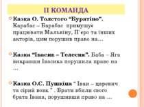 """ІІ КОМАНДА Казка О. Толстого """"Буратіно"""". Карабас – Барабас примушує працювати..."""
