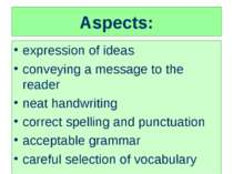 Aspects: expression of ideas conveying a message to the reader neat handwriti...