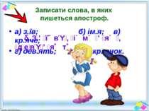 Записати слова, в яких пишеться апостроф. а) з.їв; б) ім.я; в) кр.яче; г) дев...