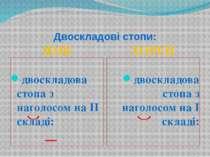 Двоскладові стопи: ЯМБ ХОРЕЙ двоскладова стопа з наголосом на II складі: — дв...