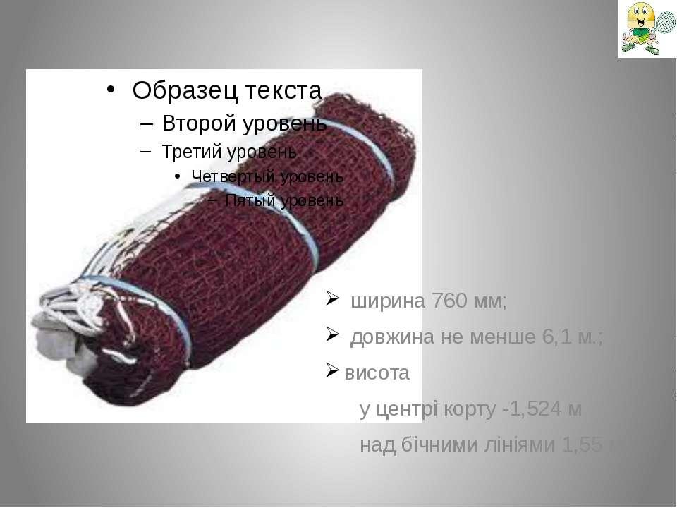 ширина 760 мм; довжина не менше 6,1 м.; висота у центрі корту -1,524 м над бі...