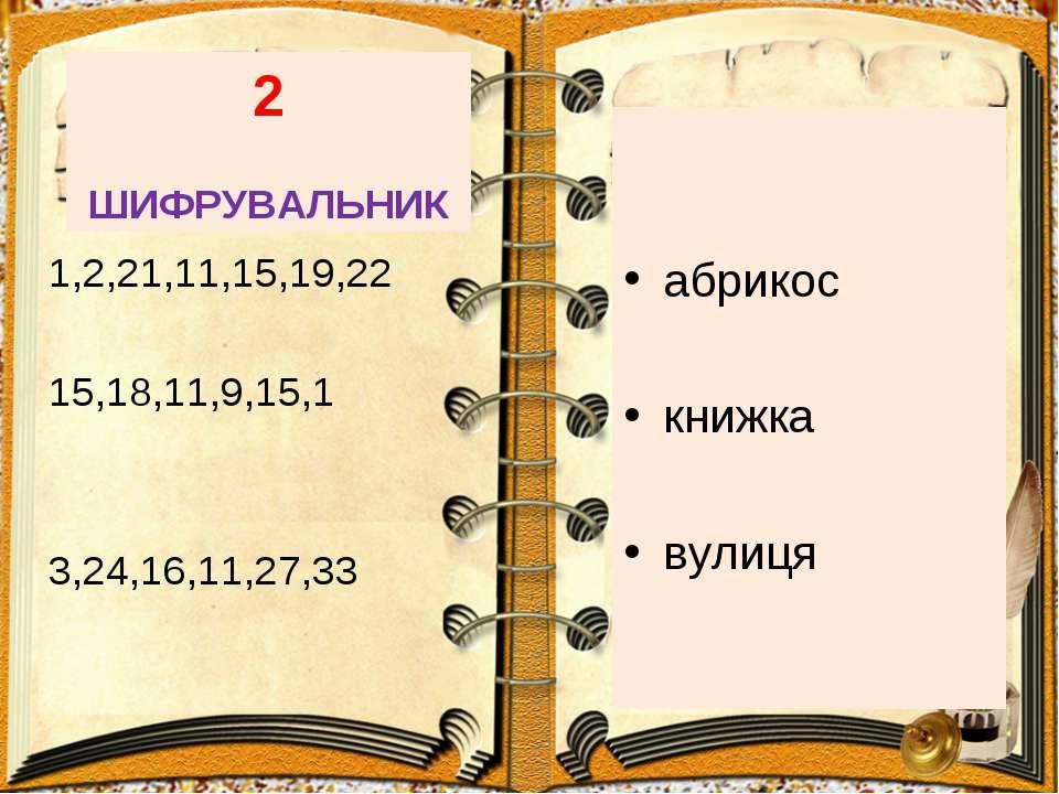 2 ШИФРУВАЛЬНИК абрикос книжка вулиця 1,2,21,11,15,19,22 15,18,11,9,15,1 3,24,...