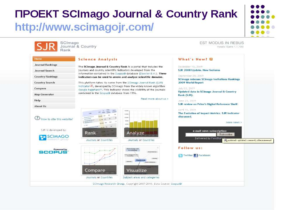 ПРОЕКТ SCImago Journal & Country Rank http://www.scimagojr.com/