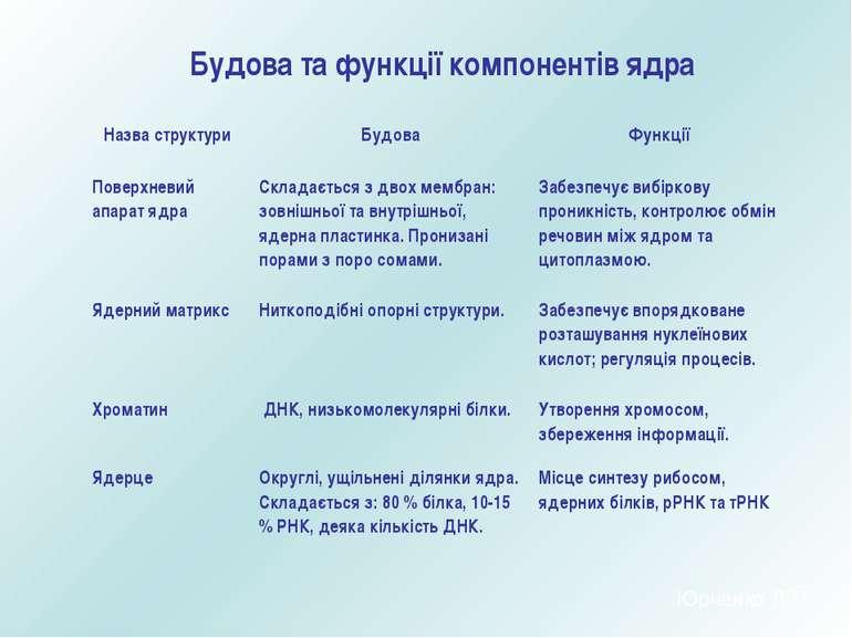 Будова та функції компонентів ядра Юрченко Л.П. Назва структури Будова Функці...