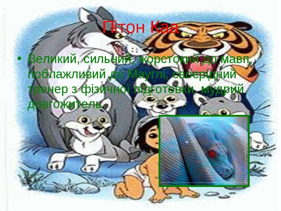 Пітон Каа Великий, сильний, жорстокий до мавп, поблажливий до Мауглі, своєрід...