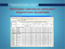 Моніторинг навчальної діяльності педагогічних працівників Комп'ютеризація роб...