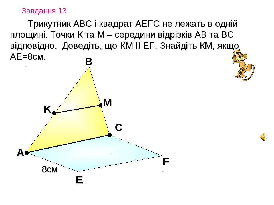 Завдання 13 Трикутник АВС і квадрат АEFC не лежать в одній площині. Точки К т...