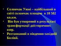 Солончак Уюні – найбільший в світі солончак площею в 10 582 кв.км. Він був ут...
