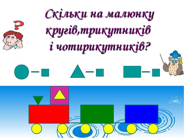 Скільки на малюнку кругів,трикутників і чотирикутників?