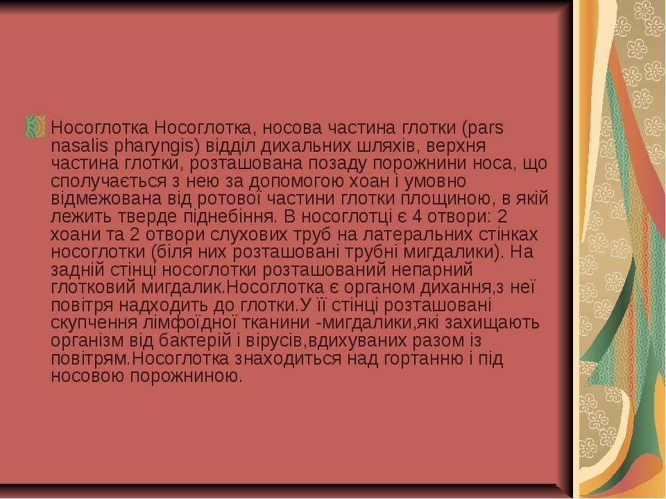Носоглотка Носоглотка, носова частина глотки (pars nasalis pharyngis) відділ ...