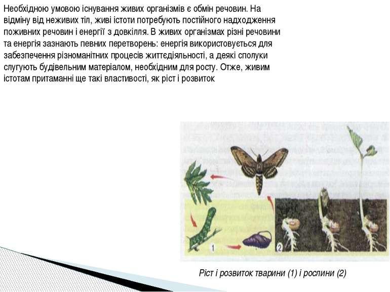 Необхідною умовою існування живих організмів є обмін речовин. На відміну від ...