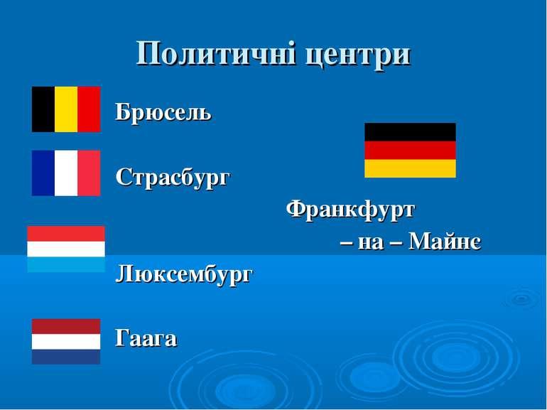 Политичні центри Брюсель Страсбург Франкфурт – на – Майнє Люксембург Гаага