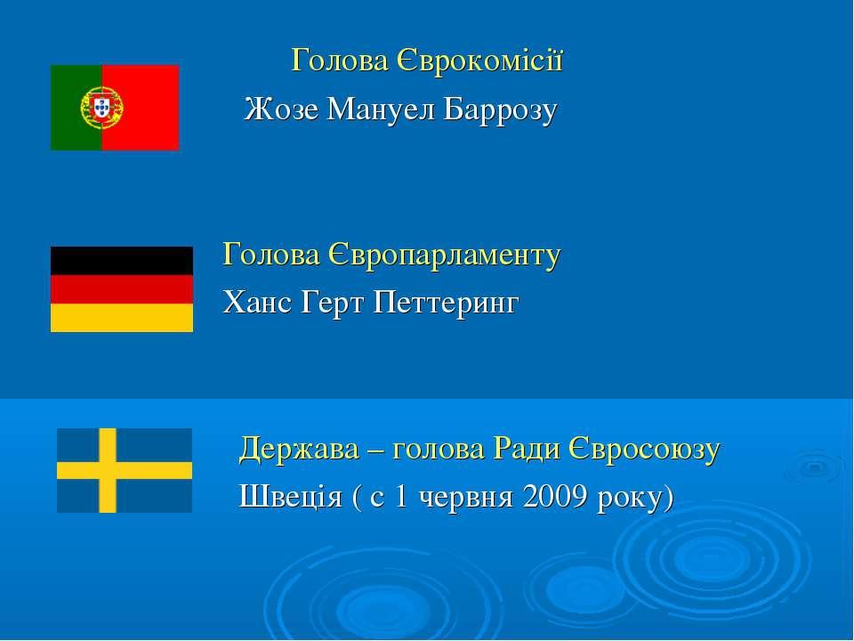 Голова Єврокомісії Жозе Мануел Баррозу Голова Європарламенту Ханс Герт Петтер...