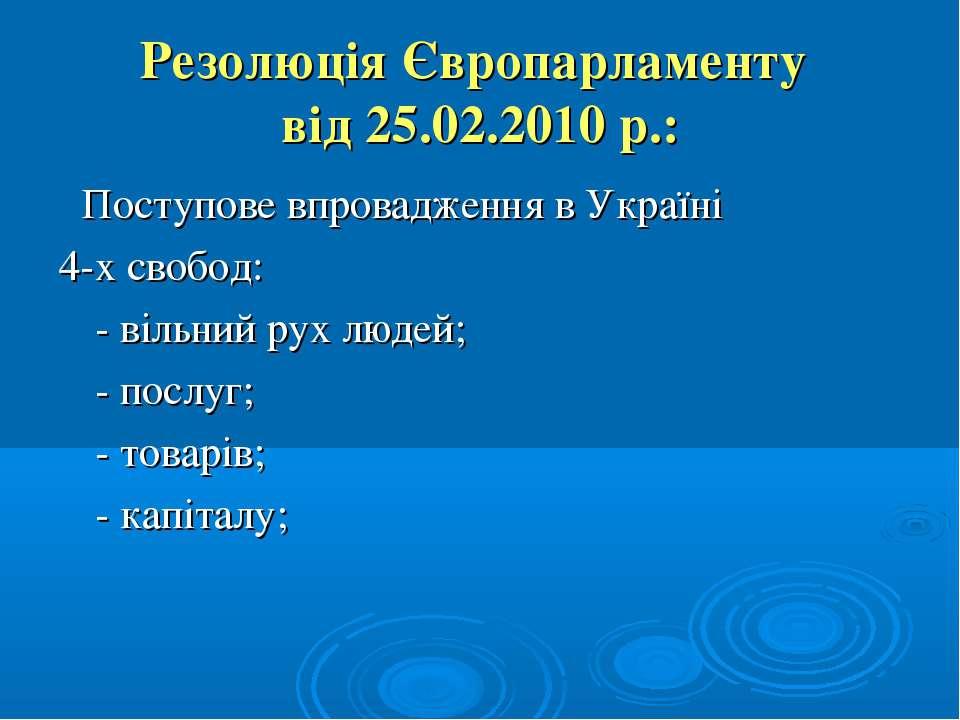 Резолюція Європарламенту від 25.02.2010 р.: Поступове впровадження в Україні ...