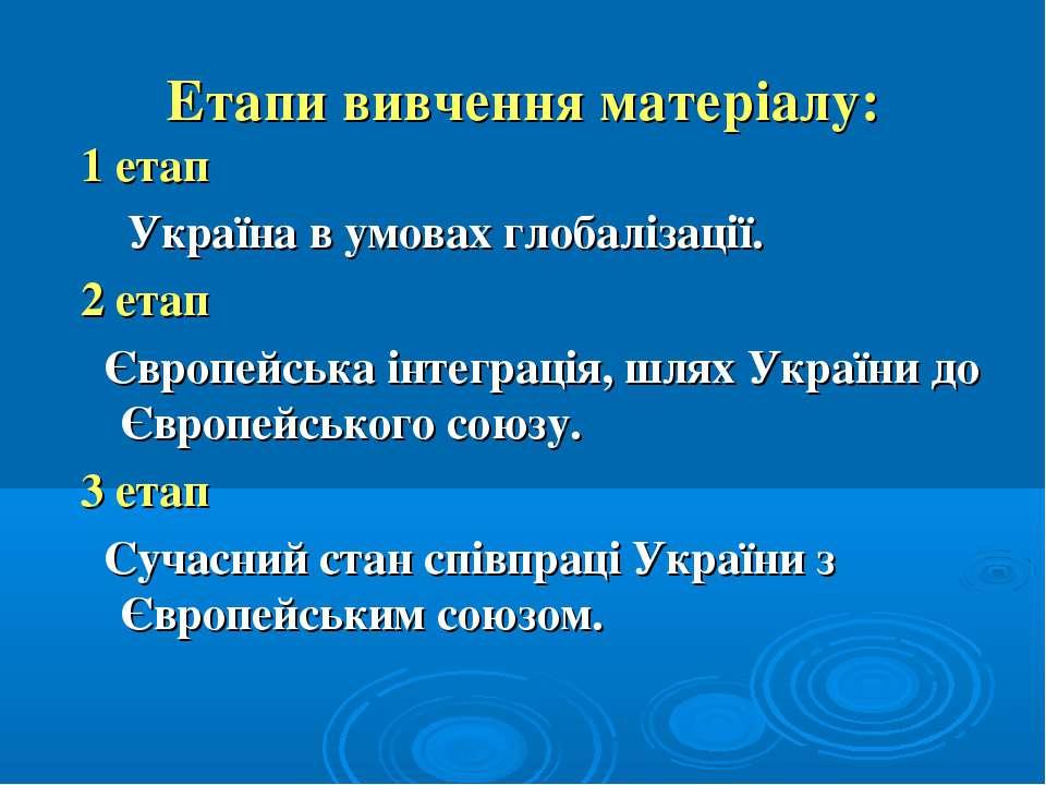 Етапи вивчення матеріалу: 1 етап Україна в умовах глобалізації. 2 етап Європе...