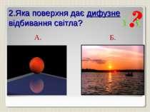 2.Яка поверхня дає дифузне відбивання світла? А. Б.