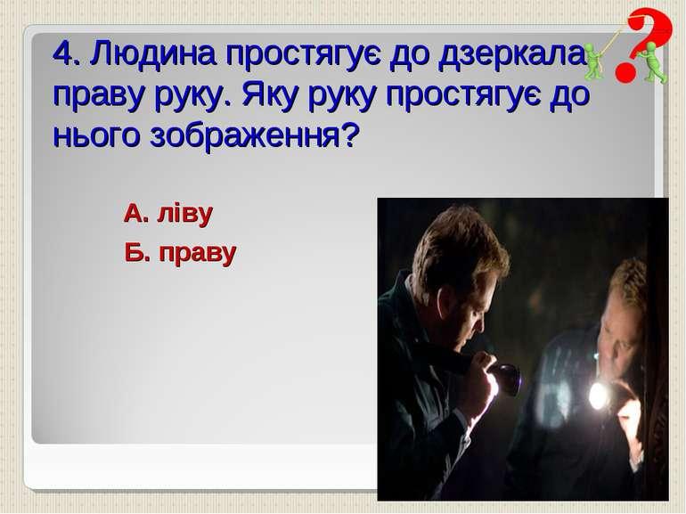 4. Людина простягує до дзеркала праву руку. Яку руку простягує до нього зобра...
