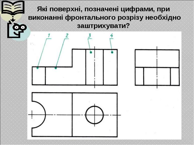 Які поверхні, позначені цифрами, при виконанні фронтального розрізу необхідно...