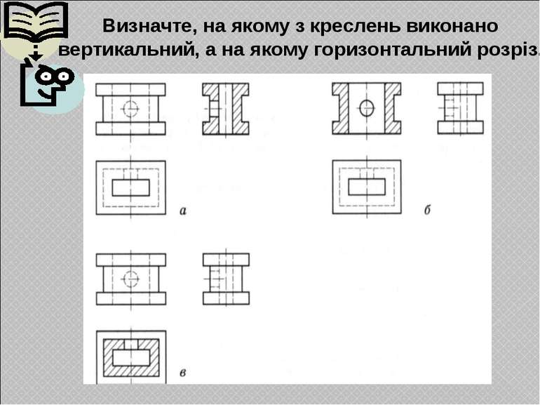 Визначте, на якому з креслень виконано вертикальний, а на якому горизонтальни...