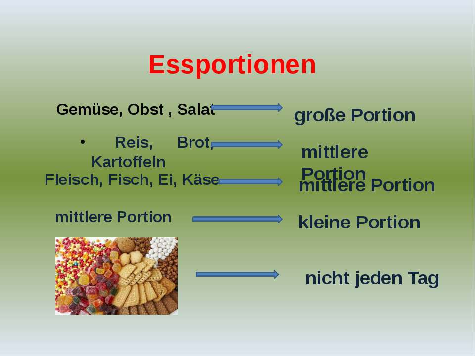 Essportionen Gemüse, Obst , Salat große Portion Reis, Brot, Kartoffeln mittle...