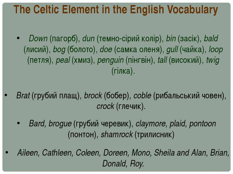 The Celtic Element in the English Vocabulary Down (пагорб), dun (темно-сірий ...