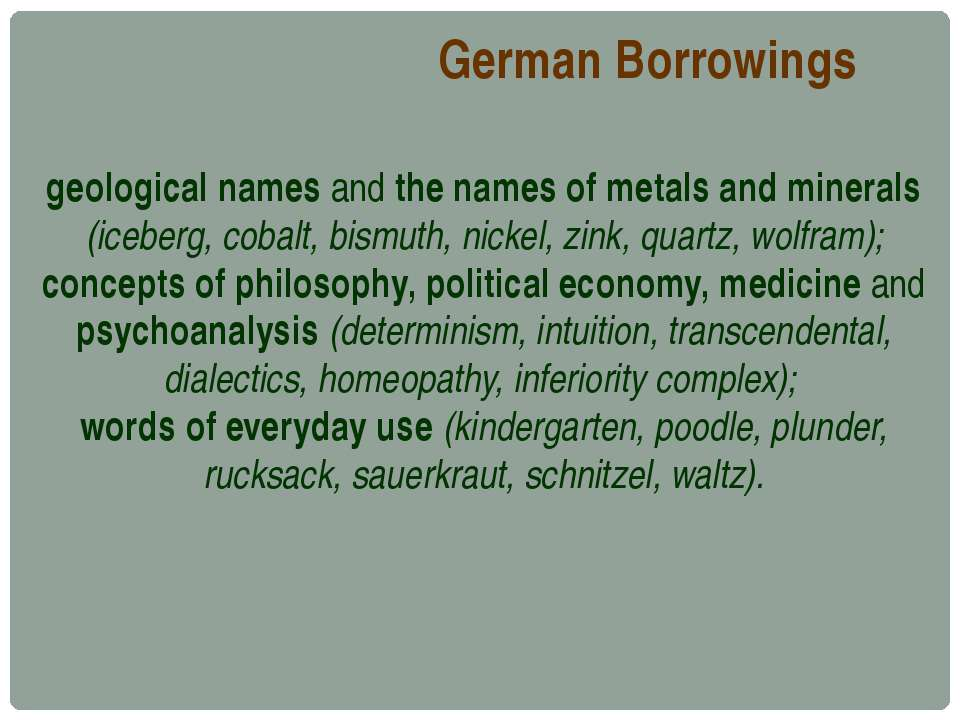 German Borrowings geological names and the names of metals and minerals (iceb...