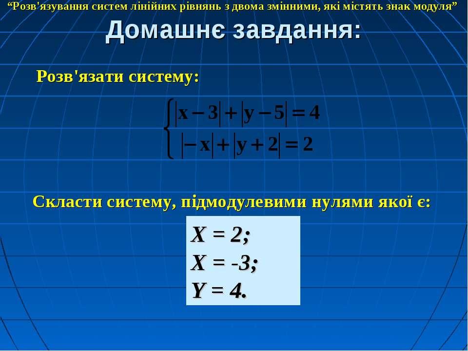 """Домашнє завдання: """"Розв'язування систем лінійних рівнянь з двома змінними, як..."""