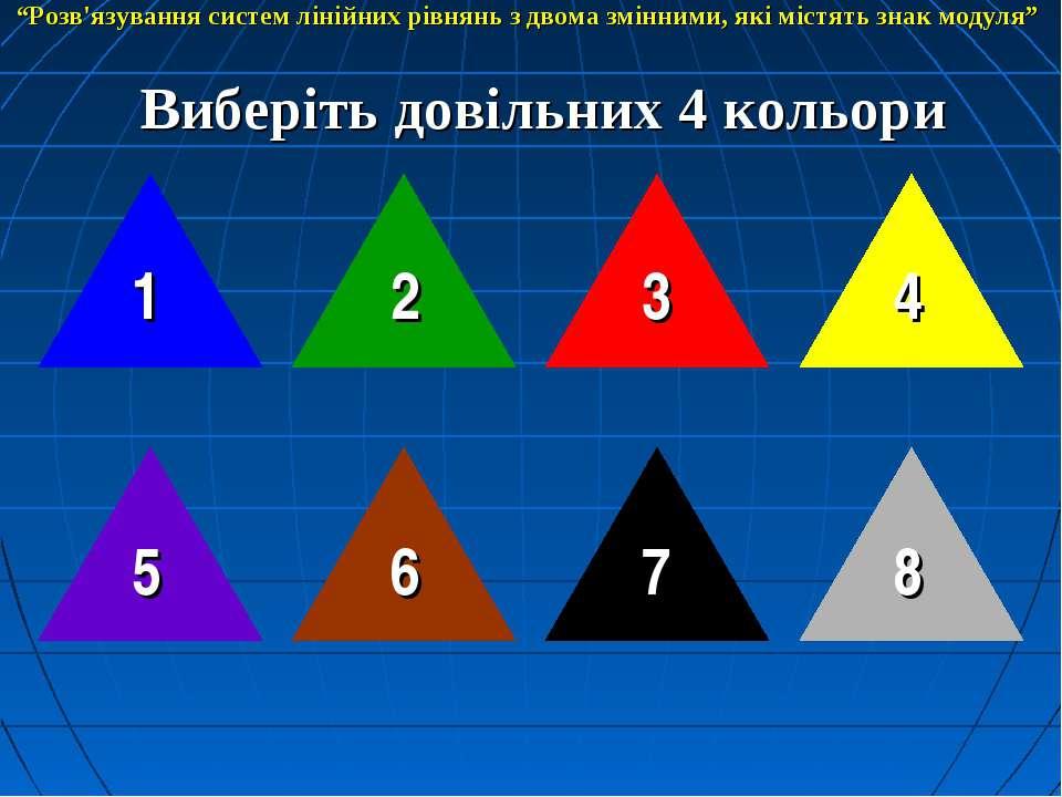 """Виберіть довільних 4 кольори 1 8 2 3 4 7 6 5 """"Розв'язування систем лінійних р..."""