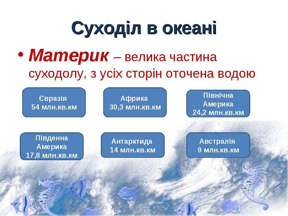 Суходіл в океані Материк – велика частина суходолу, з усіх сторін оточена вод...
