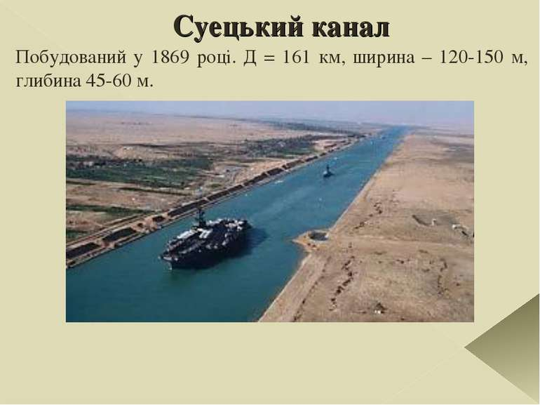 Суецький канал Побудований у 1869 році. Д = 161 км, ширина – 120-150 м, глиби...