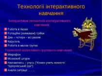 Технології інтерактивного навчання Інтерактивні технології кооперативного нав...