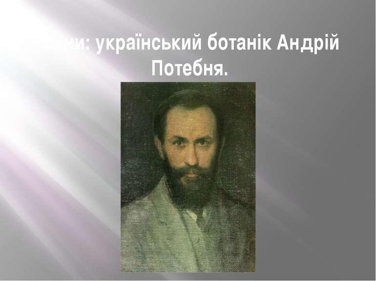 Сини: український ботанік Андрій Потебня.