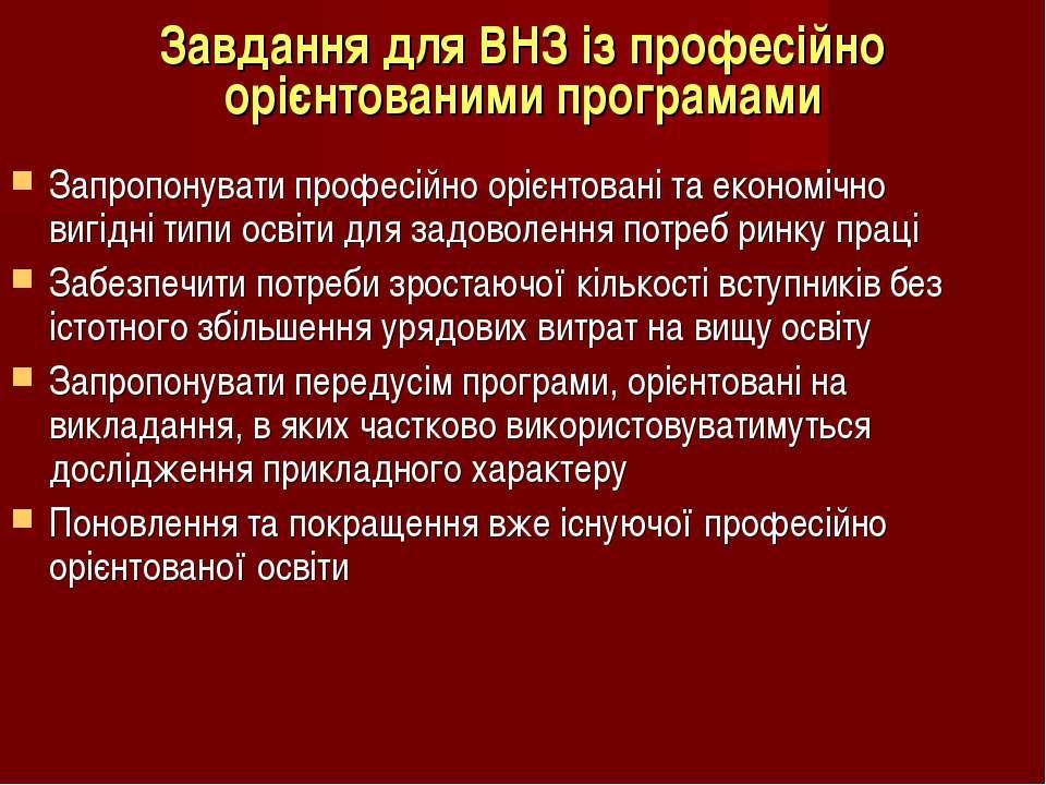 Завдання для ВНЗ із професійно орієнтованими програмами Запропонувати професі...