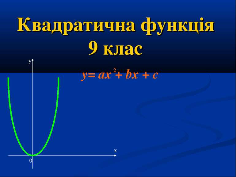 Квадратична функція 9 клас у х 0 y= ax + bx + c 2