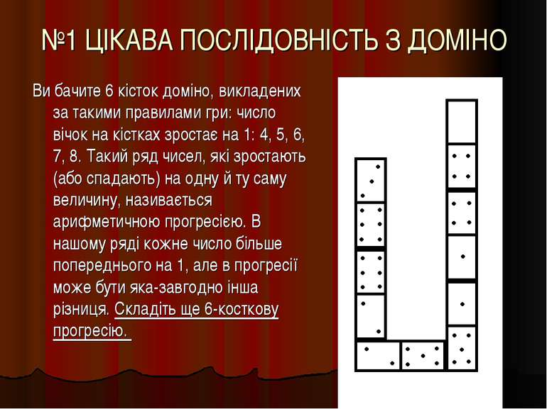 №1 ЦІКАВА ПОСЛІДОВНІСТЬ З ДОМІНО Ви бачите 6 кісток доміно, викладених за так...