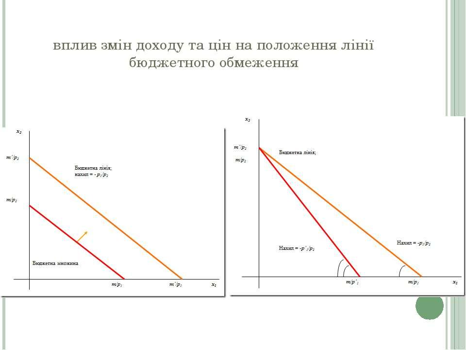 вплив змін доходу та цін на положення лінії бюджетного обмеження