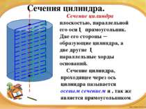 Сечения цилиндра. Сечение цилиндра плоскостью, параллельной его оси ─ прямоуг...