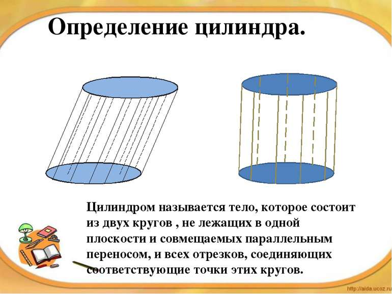 Определение цилиндра. Цилиндром называется тело, которое состоит из двух круг...