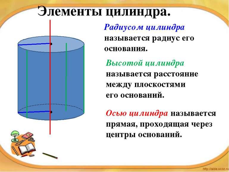 Элементы цилиндра. Высотой цилиндра называется расстояние между плоскостями е...