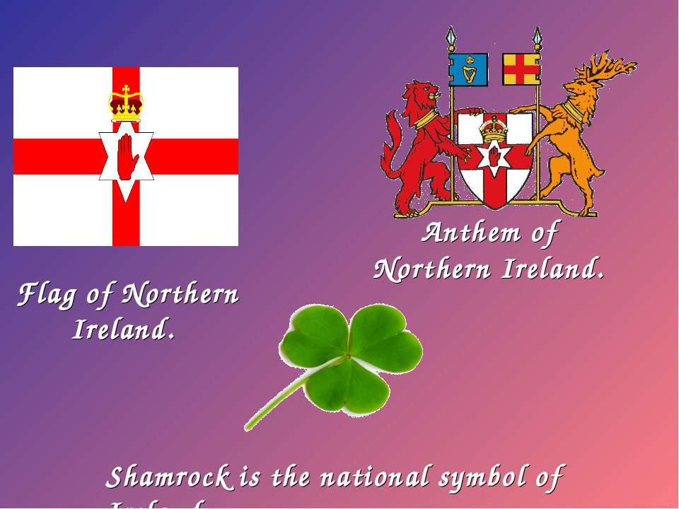 Flag of Northern Ireland. Shamrock is the national symbol of Ireland Anthem o...