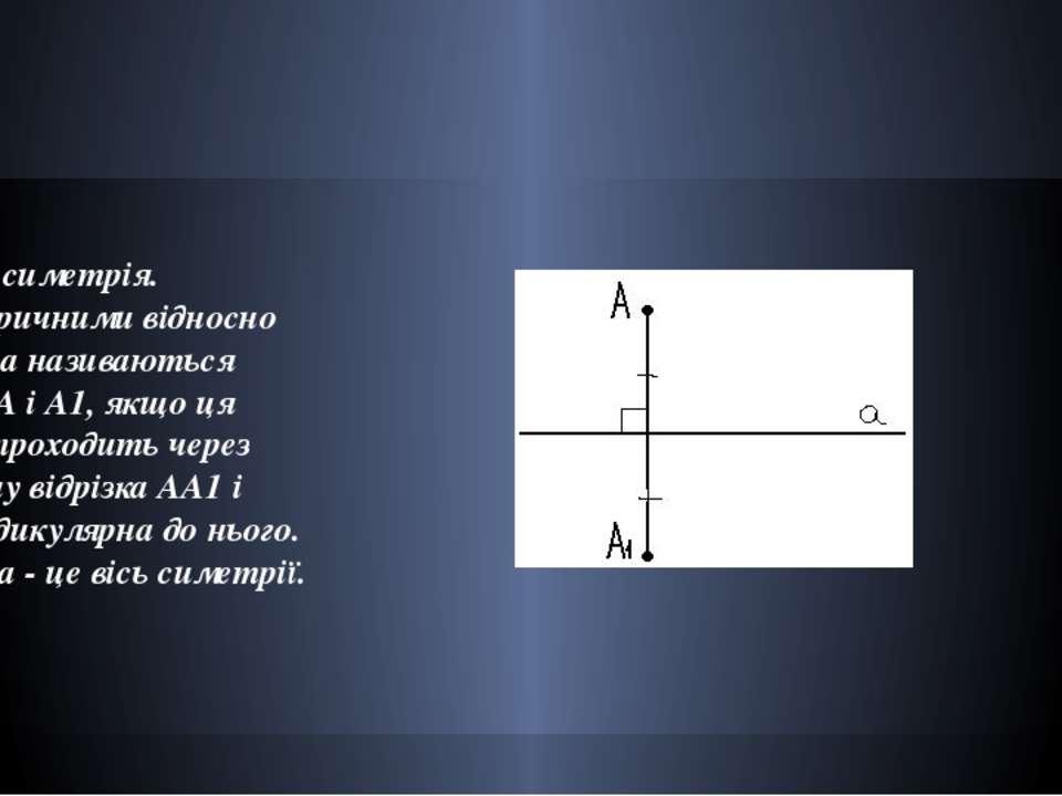 Осьова симетрія. Симетричними відносно прямої а називаються точки А і А1, якщ...