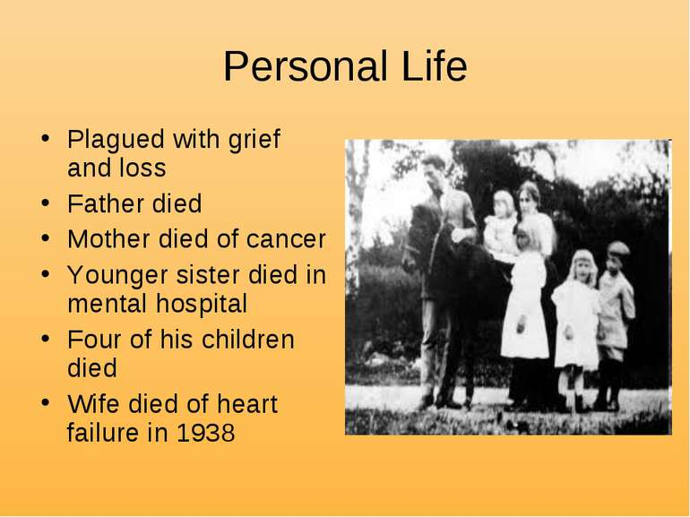Personal Life Plagued with grief and loss Father died Mother died of cancer Y...