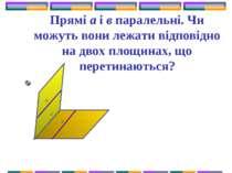 Прямі а і в паралельні. Чи можуть вони лежати відповідно на двох площинах, що...