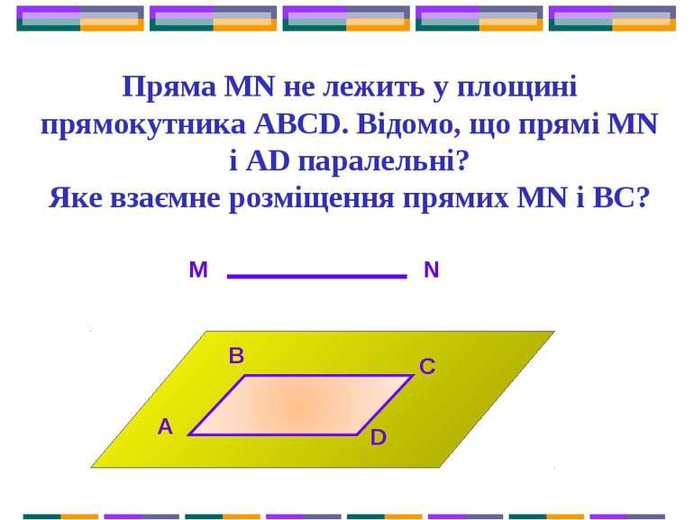 Пряма MN не лежить у площині прямокутника ABCD. Відомо, що прямі MN і AD пара...