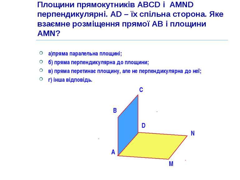 Площини прямокутників ABCD і AMND перпендикулярні. AD – їх спільна сторона. Я...