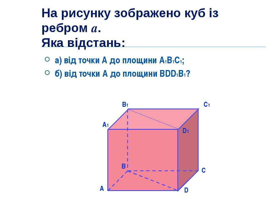 На рисунку зображено куб із ребром а. Яка відстань: а) від точки А до площини...